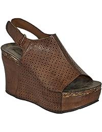 Womens Vegan Leather Peep-Toe Adjustable Ankle Strap Wedge Sandals Open Toe Hester-16