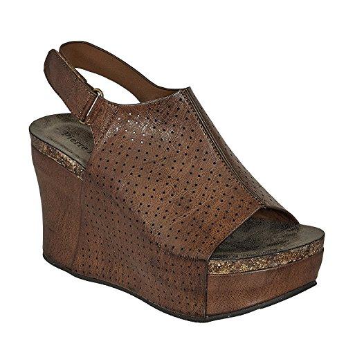 (Pierre Dumas Women's Vegan Leather Peep-Toe Adjustable Ankle Strap Wedge Sandals Open Toe Hester-16 (8.5, Whiskey))