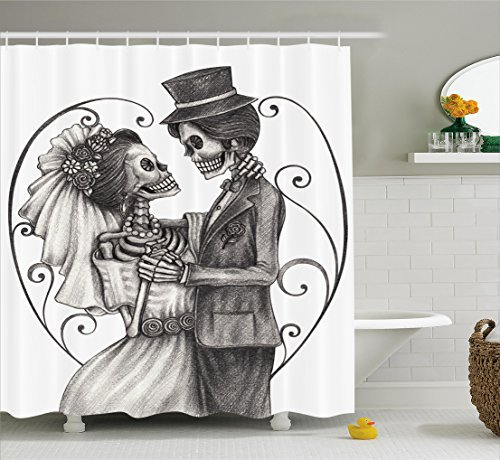 Ambesonne Day of The Dead Decor Shower Curtain, Love Skull Skeleton Marriage Eterna Love Spanish Festive Print, Fabric Bathroom Decor Set with Hooks