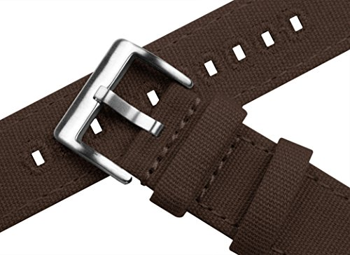 BARTON Canvas Quick Release Watch Band Straps - Choose Color & Width - 18mm, 20mm, 22mm - Chocolate Brown 20mm by Barton Watch Bands (Image #4)