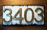House Address Signs | Rustic white plaque and brass-colored numbers, Made of distressed Wood | Custom Address Plaque | House numbers, address sign, housewarming gift, cabin, cottage