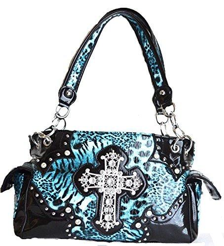 western leopard animal rhinestone cross purse (blue) Rhinestone Accented Handbag Purse