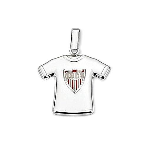 Colgante camiseta escudo Sevilla FC plata de ley estampada [8586GR] - Modelo: 40-151 - Personalizable - GRABACIÓN INCLUIDA EN EL PRECIO: Amazon.es: Joyería