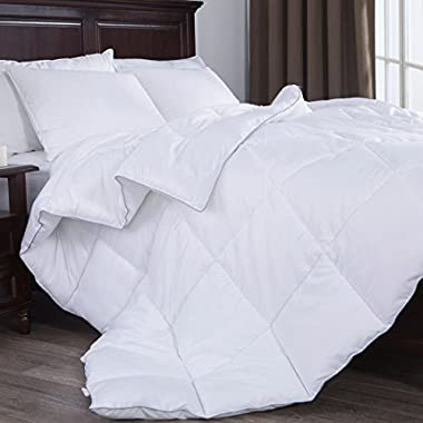 Puredown White Down Alternative Comforter Duvet Insert Four Leaf Clover Pattern, Peach Skin Fabric, Full/Queen Size