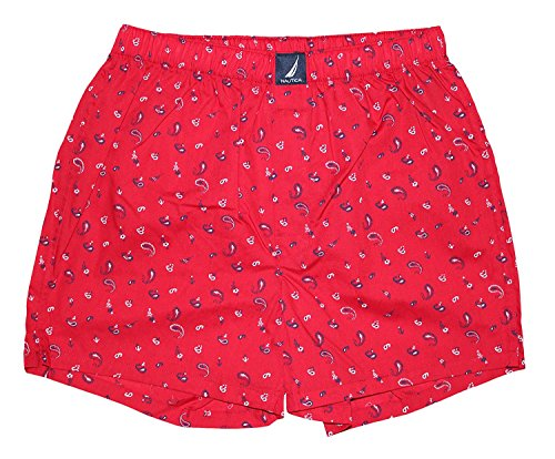 Nautica Mens Woven Boxer, Bandana Print/Red, Small