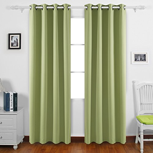 Deconovo Room Darkening Panels Thermal Blackout Curtains Grommet Insulated Curtains for Store 52W x 84L Inch Nile Green 1 Pair