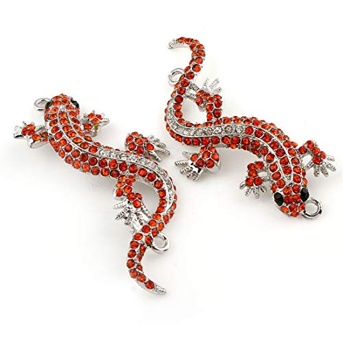 (1pc Silver Tone Plated Gecko Lizard Two 2 Holes Connector Pendant with Rhinestones Jewelry Making Metal Findings 23mm x 60mm x 4mm Hole 2mm)