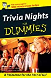Trivia Nights for Dummies, Alan Lovett, 0731405943