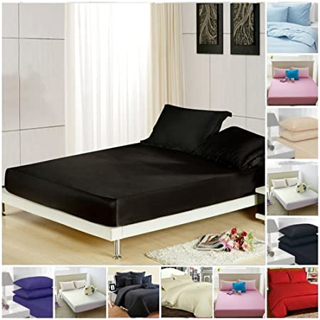 "24/"" Deep Luxury Plain Dyed Noniron Percale Cotton Double Bed Valance Sheet Black"