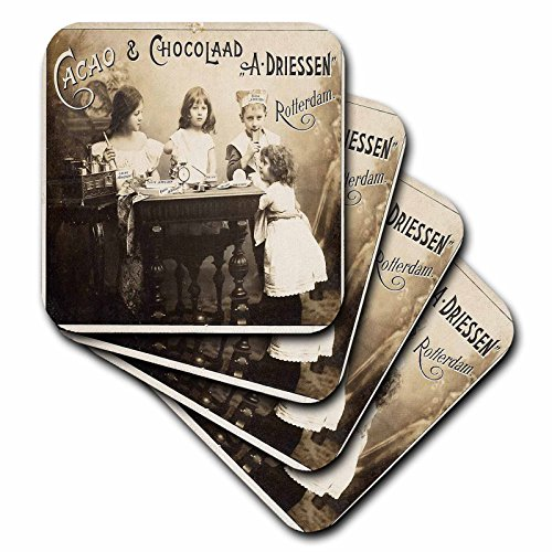 3dRose cst_62535_1 Picture of Old 1900 Postcard from Holland-Soft Coasters, Set of - Old 1900 Photo