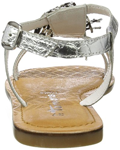 para Sandalias Tamaris Plateado Vertical con Tira 28158 Silver Mujer PnZxqZ1X