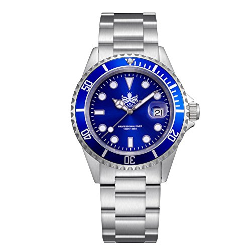 Automatic Quartz Watch (Phoibos Men's PX002B 300M Dive Watch Swiss Quartz Blue Sport Watch)