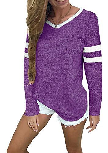MISSLOOK Women's Color Block Shirts Baseball Tees Long Sleeve Striped Tunics Blouses Tops - Purple XXL