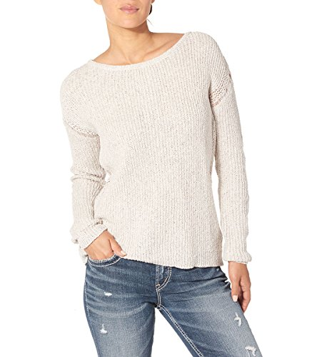 - Silver Jeans Women's Ladies Boxy Sweater with Open Knit Details, Cream, S