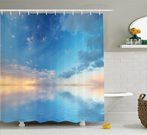 Apartment Decor Shower Curtain Set By Ambesonne, Inside Out Sky And Sea Looks Like Combined In The Horizon Ocean Clouds Tranquil Peace Theme, Bathroom Accessories, 69W X 70L Inches, Blue