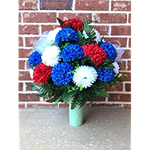 starbouquets Cemetery Vase Flower ~ Beautiful Red White and Blue Chrysanthemum Mixture ~ Cemetery Vase Flowers for a 3 Inch Vase ~ Cemetery Floral Arrangement - Father's Day 101