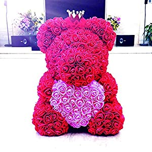 TL.Technologies Crazestar Teddy Rose Bear Pink Red White Forever Roses Artificial Anniversary Christmas Valentines Gift (Heart Red) 78