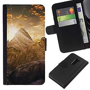 YiPhone /// Tirón de la caja Cartera de cuero con ranuras para tarjetas - Montaña Cayon Amanecer - LG G2 D800