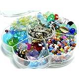 Glasperlen Schmuck Bastel Box Konvolut ca. 1200 bunte Perlen