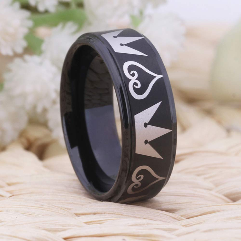 Cosplay Jewelry 8mm Black Step Kingdom Hearts /& Crowns Design Ring Wedding Ring Engagement Ring-Free Inside Engraving