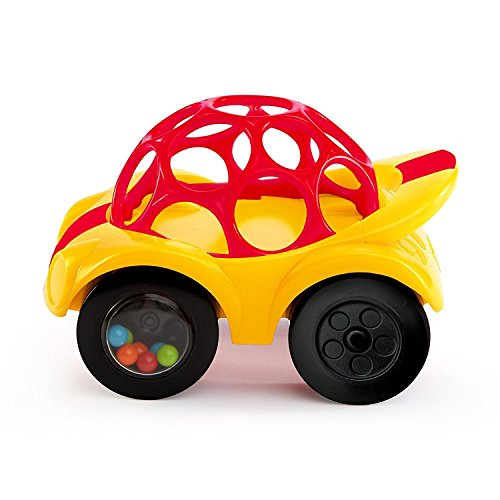 O Ball 1-Piece Rattle & Roll Car, Yellow