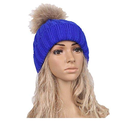 [EKIMI Women Winter Crochet Hat Wool Knit Hemming Warm Cap Hat (Blue)] (Hip Hop Felt Hat With Feather)