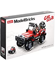 Sluban Car Shaped Building Blocks Toy for Kids, 253 Pieces - Red and Black