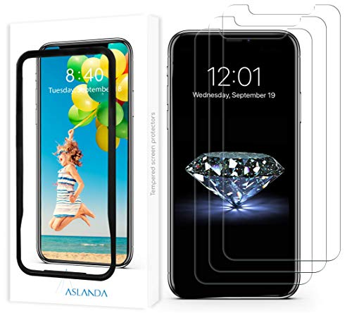 iPhone XS Max Screen Protector( 3 pack, Clear ) Aslanda iPhone XS Max Tempered Glass Screen Protector. 9H hardness Supporting 3D Touch Best Glass for Your best iPhone