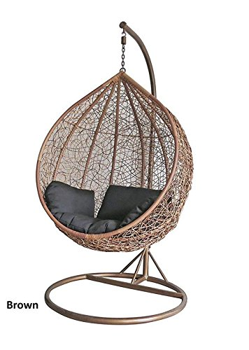 Arcwood Interiors Rattan & Wicker Single Seater Swing Chair (Brown_114.3 x 91.4 x 76.2 Cm)With Stand