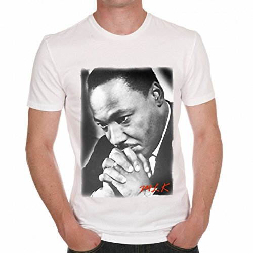 Martin Luther King Prying Men's T-shirt Celebrity Star ONE IN THE CITY - White, XL