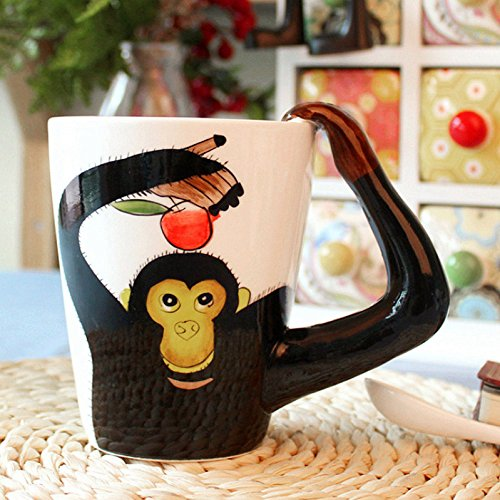 3D Coffee Mug Ceramics Cup With handle Painted Cat Animal (Monkey) by luckyse