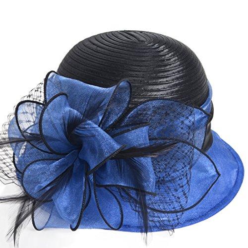 Kentucky Derby Dress Church Cloche Hat Sweet Cute Floral Bucket Hat (Royal ()