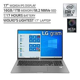 LG Gram Laptop – 17″ IPS WQXGA (2560 x 1600) Intel 10th Gen Core i7 1065G7 CPU, 16GB RAM, 1TB M.2 NVMe SSD (512GB x2), 17 Hour Battery, Thunderbolt 3 – 17Z90N (2020)