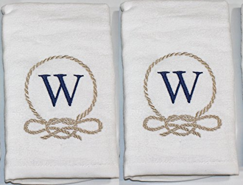 (Traditions White Coastal Rope Crest Embroidered Monogram Hand Towels, Set of 2 (Letter W))