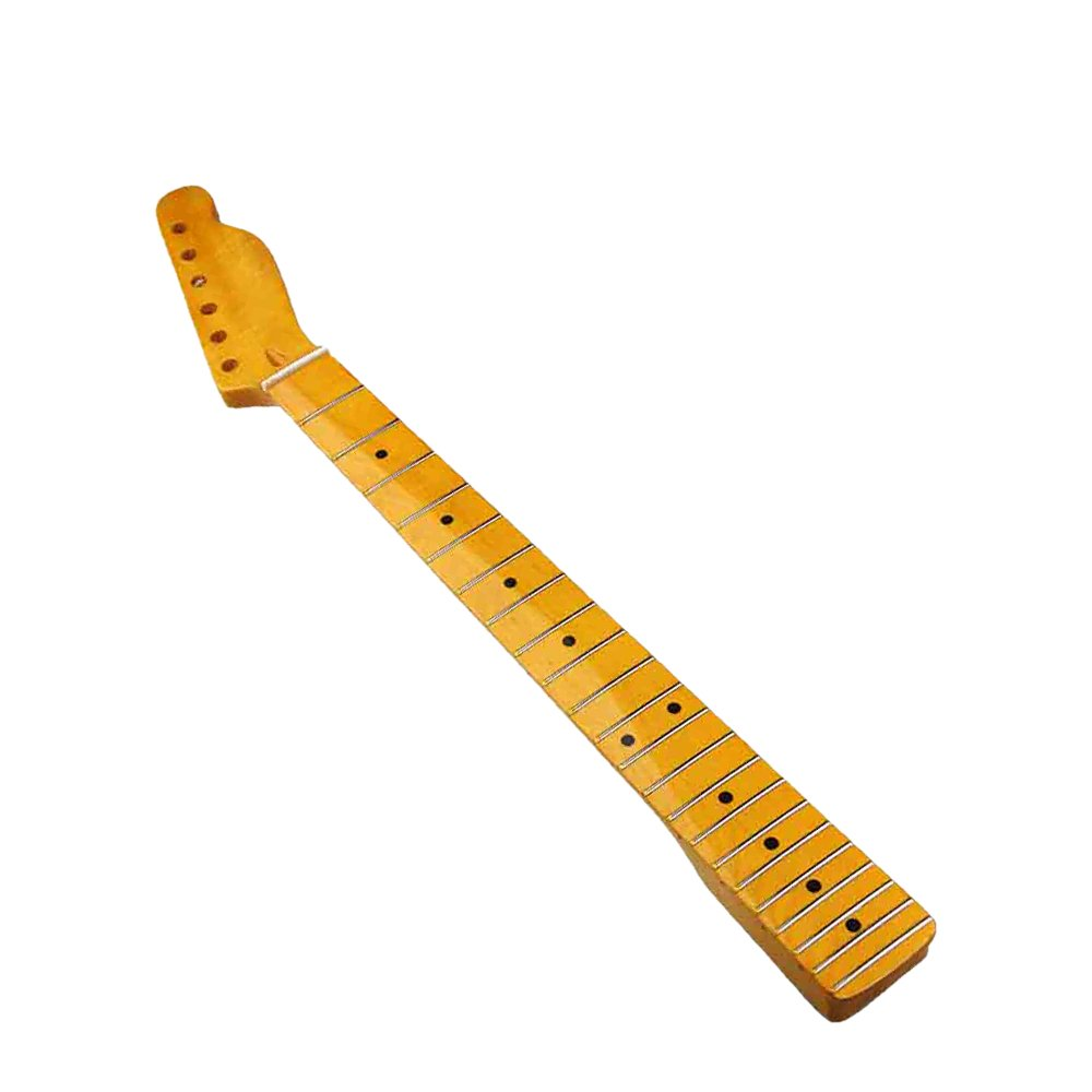 Kmise MI0052 Light Yellow Maple Guitar Neck for Replacement Rosewood Inlay Back