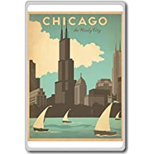 Chicago The Windy City - USA Vintage Travel Fridge Magnet