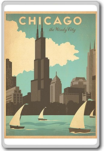 Chicago The Windy City - USA Vintage Travel Fridge Magnet (Fridge Magnets Usa Cities compare prices)