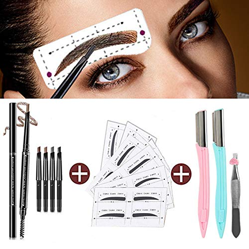 Eyebrow Pencil Stencil Shaper Sticker Razor Set/3D Long Lasting Waterproof Eyebrow Pencil with Replaceable Head Brow Brush/Reusable DIY Eyebrow Makeup Grooming Kit Tools