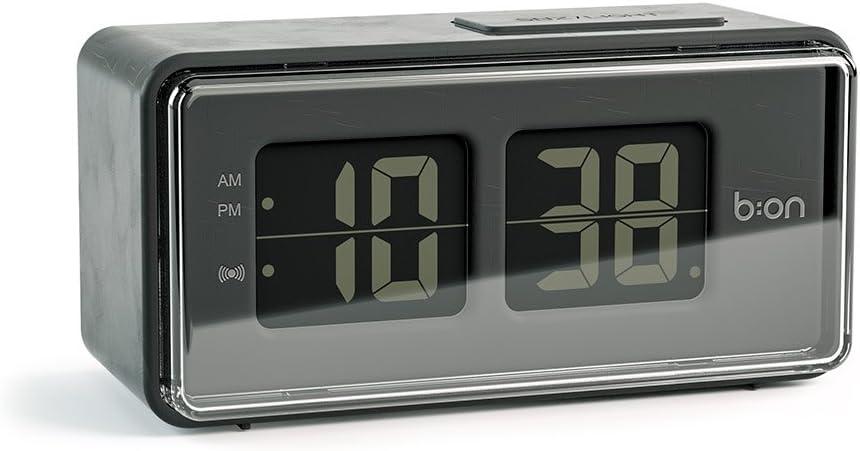 Balvi B:ON-FlipDespertador Digital de Tipo Flip. Pantalla de LCD, imita el Movimiento de un Reloj Flip.Color Negro.
