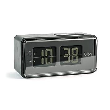 Balvi B:ON - Flip Despertador Digital de Tipo Flip. Pantalla de LCD, imita el Movimiento de un Reloj Flip.Color Negro.: Amazon.es: Hogar