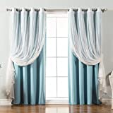 Best Home Fashion Mix & Match Dotted Tulle Lace & Solid Blackout Curtain Set – Antique Bronze Grommet Top – Ocean – 52″ W x 96″ L – (2 Curtains and 2 Sheer curtains)