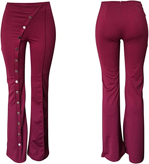 ONTBYB Womens Slim Fit Trousers Casual Floral High Rise Bell Bottom Flared Pants