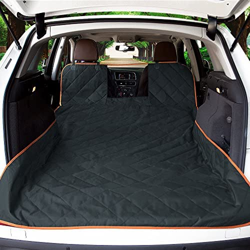 iBuddy SUV Cargo Liner for Dogs Waterproof Pet Cargo Cover with Mesh Window Non Slip Durable Dog Seat Cover Protector with Bumper Flap for Universal and Large Size SUVs