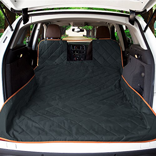 (iBuddy SUV Cargo Liner for Dogs with Mesh Window, Waterproof Pet and Dog Cargo Cover for SUV and Jeep with Nonslip Bottom and Anchors Universal Design of SUVs)