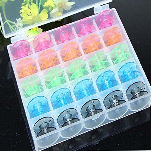 Tenflyer 25 PC / sistema vacíos Bobinas de la máquina de coser Carretes la caja de plástico de colores Caja de almacenamiento para la máquina de coser: ...