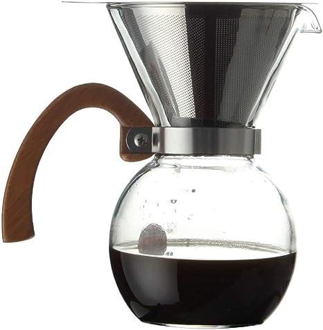 Cafetera Reloj de Arena Neto Papel sin Filtro Papel de Acero Inoxidable Filtro de café Jarra de Vidrio Punzón de Mano Transparente 12 * 6.5 * 17 cm XMJ: Amazon.es: Hogar