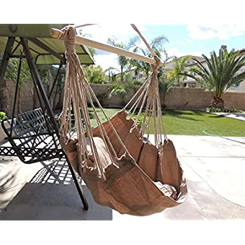 Charming Hammock Chair Hanging Rope Chair Porch Swing Outdoor Chairs Lounge Camp Seat  At Patio Lawn Garden Backyard Tan