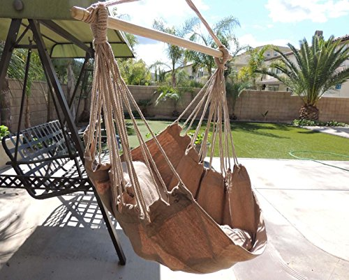Hammock Chair Hanging Rope Chair Porch Swing Outdoor Chairs Lounge Camp Seat At Patio Lawn Garden Backyard Tan by Busen