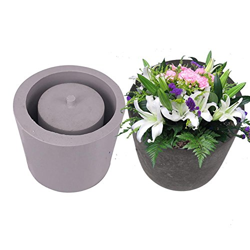 - Topaty Round Cement Flower Pot Silicone Mold Home Decoration Crafts Succulent Plants Concrete Planter vase Molds for Garden Indoor Outdoor Decor