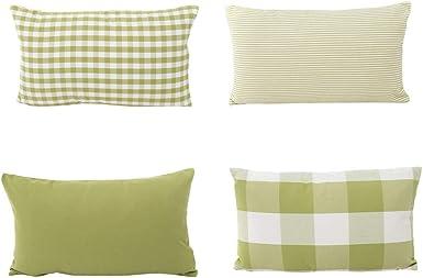 Fossrn 4pc/ Conjunto Funda Cojin 30 x 50 Moderno Cuadros Funda de almohada para Sofa Jardin Cama Decoracion (Verde): Amazon.es: Ropa y accesorios